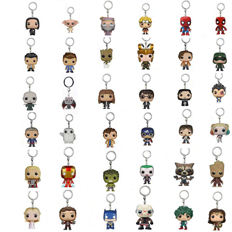 Funko POP Wizard Potter DEKU Marvel Loki Iron Man NARUTO Grootted Loki Deadpool Keychain Action Figure Toys For Children Gift