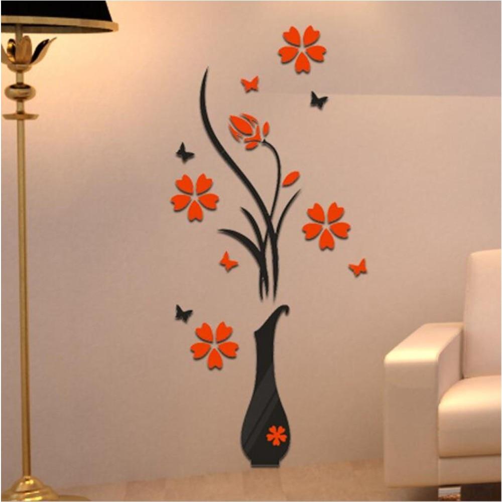 3d Flower Vase Diy Mirror Wall Decals Stickers Art Home Room Tv