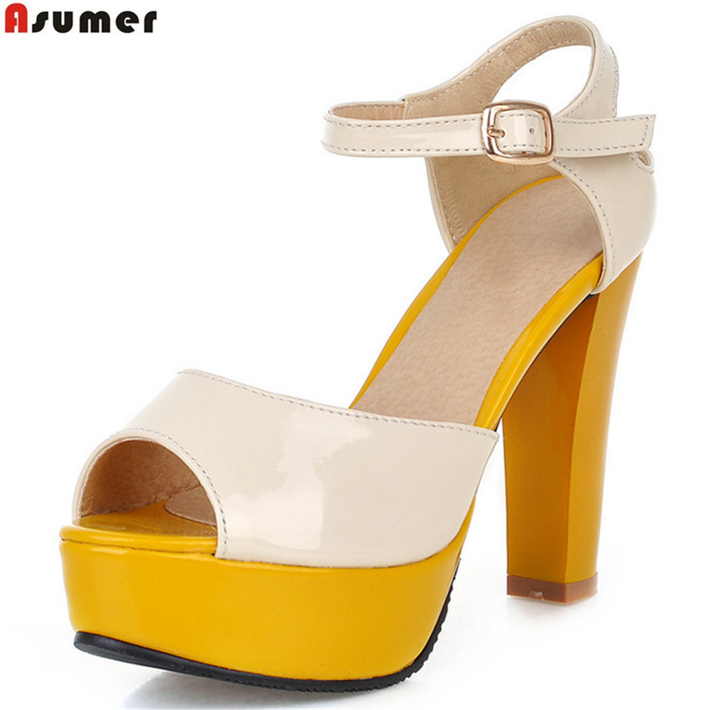 ASUMER yellow blue rose red fashion summer ladies shoes peep toe buckle platform women high heels sandals big size 33-43