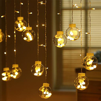 Curtain String Globe Lights Clear LED Window Room Hanging String Light Festival Indoor Window Curtain Decoration LED Lights