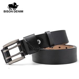Image 3 - Bison denim novo cinto masculino de couro genuíno cintos vintage fivela cinto de couro para homens natal presente de ano novo n71247