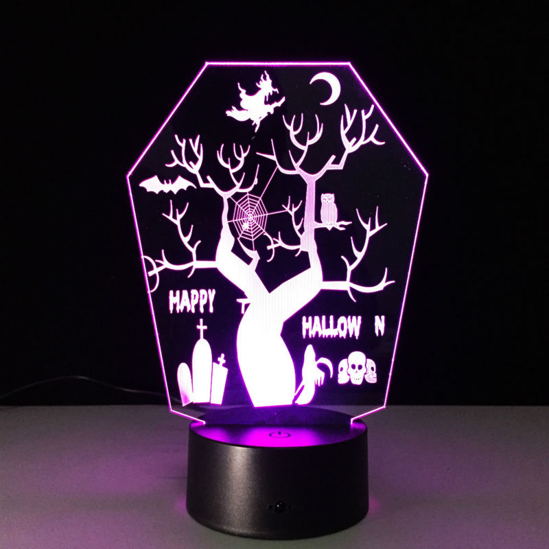 Capable All Saints Tree 3d Remote Led Night Light Vision Stereo Lamp 7 Color Change Usb Led As Halloween Decorations