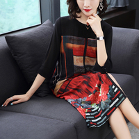 Real Silk Dress Plus Size New Autumn Summer Women Silk Dress Loose Half Sleeved Print A line Dresses Beach Casual Clothes M 4XL
