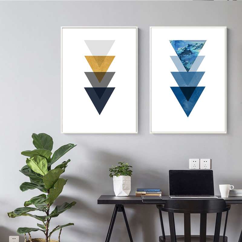 Us 4 1 24 Off Modern Geometric Wall Art Abstract Shape Sun Mountain Canvas Painting Blue Triangles Poster Nordic Living Room Decor Framed In
