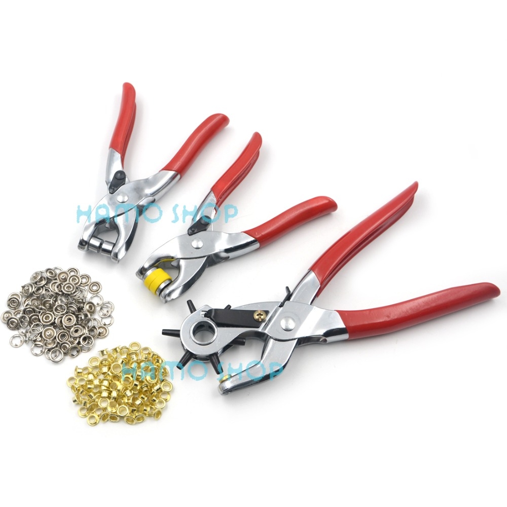 High Quality 3pcs Set Red Handle Leather Plier Punch Tool Hole Eyelets Snap Belt Setter Grommet Press for Leather Hot Sale in Sewing Tools Accessory from Home Garden