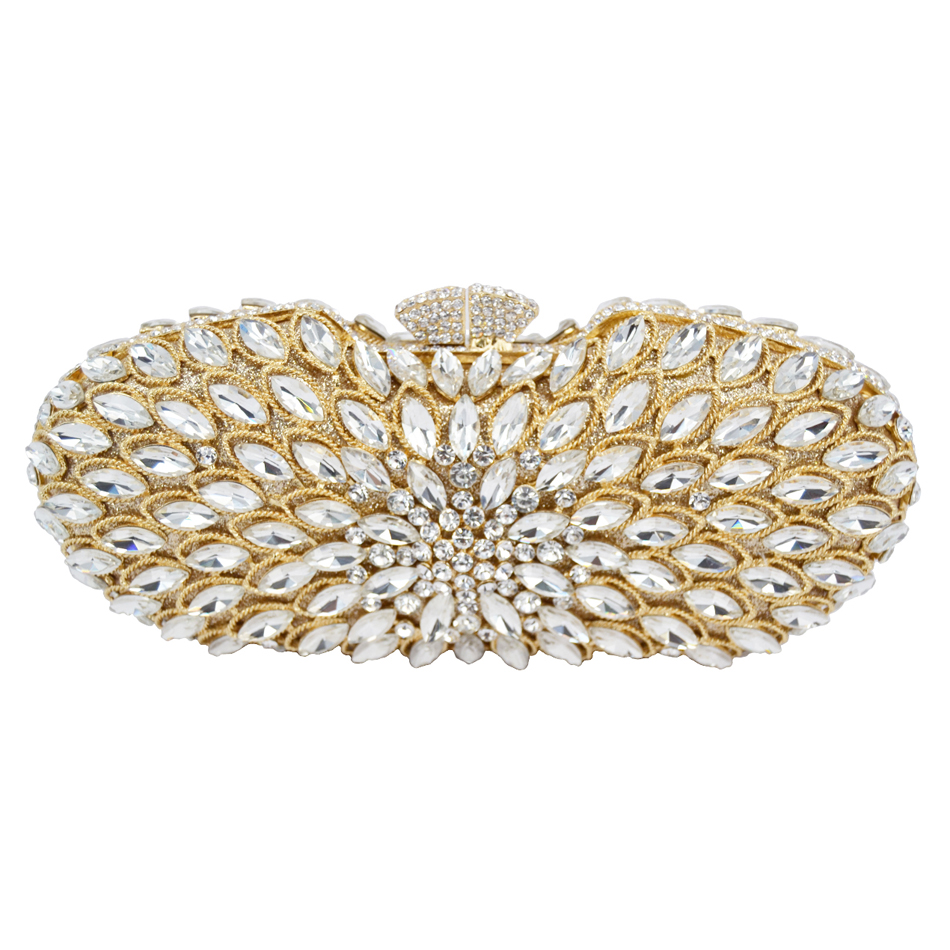 Wholesale Luxury Hollow Out Crystal Evening Bag Women Wedding Party Purse Pochette Silver Ladies Bling Bag Gold Clutch bag 88157 newest fashion women evening bag luxury 3 colours radient rhinestone clutch purse crystal handbag party and wedding wallet