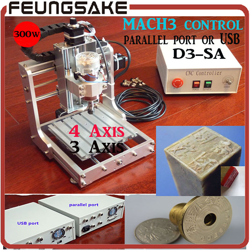 Fastship DHL D3-SA 4axis MACH3 USB mini CNC engraving machine, 300w,1313 small DIY CNC engraving machine parallel port/USB port acctek mini cnc desktop engraving machine akg6090 square rails mach 3 system usb connection
