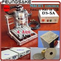 Freeship DHL D3 SA 4axis MACH3 USB Mini CNC Engraving Machine 300w 1313 Small DIY CNC