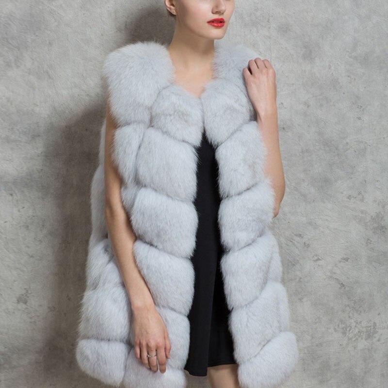 S-4XL Female Fur Waistcoat 2018 New Winter Warm Faux Fox Fur Vest Women High-Grade Cappa Fashion O-Neck Long Fur Coat Cardigan etosell women faux fox fur shaggy waistcoat long hair lapel vest coat camel l