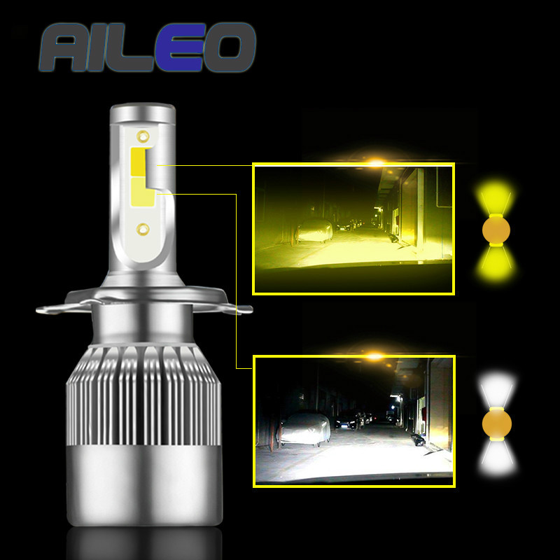 AILEO Super Bright Car Headlight <font><b>Bulb</b></font> H1 led H3 H4 H7 H1 Led <font><b>3000k</b></font> 6000K Double Color Headlamp H8 H9 H11 9005 9006 HB3 <font><b>HB4</b></font> 880 image