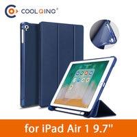 soft tpu TPU Tri-folded Tablets Case For iPad Air 1 9.7 Soft Protective PU+TPU Cover With Pencil Slot Tablet Case For iPad Air Case 9.7
