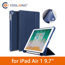 TPU Tri-folded Tablets Case For iPad Air 1 9.7 Soft Protective PU+TPU Cover With Pencil Slot Tablet Case For iPad Air Case 9.7'' стоимость
