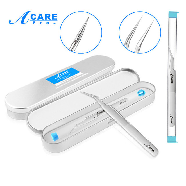 ACARE 1Pc/Pack Blackhead Tweezers Blackhead&Blemish Removers Point Bend Gib Head Comedone Acne Extractor Face Skin Care Tools