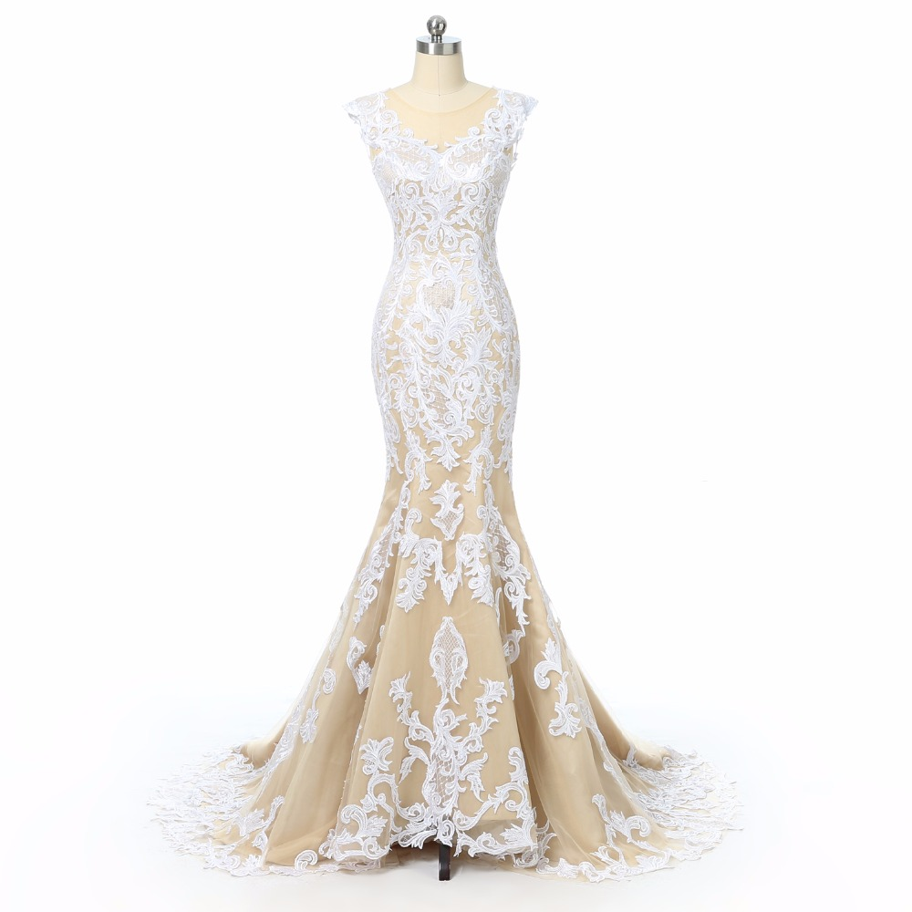 Champagne Lace Mermaid Wedding Dresses 2018 Illusion Back Cap Sleeves Wedding Bridal Gowns Sexy Wedding Dress