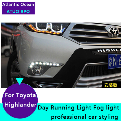 JGRT for Highlander LED DRL Car Styling For Highlander fog lamps parking LED daytime running lights driving jgrt 2011 for nissan sentra fog lights led drl turnsignal lights car styling led daytime running lights led fog lamps