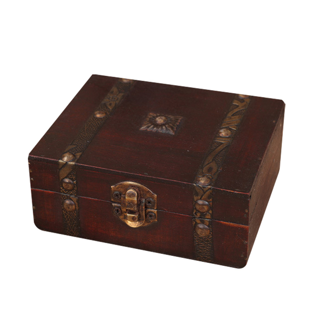 Wooden Box Retro Lock Storage Jewelry Beautiful Photography Props Gifts Cases