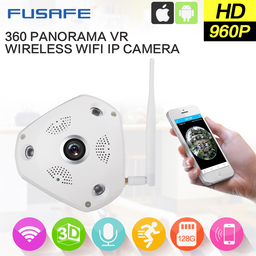 FUSAFE 360 Degree Panoramic Fisheye Camera 960P Wifi Wireless CCTV IP Camera Support Two Way Audio QP180 erasmart hd 960p p2p network wireless 360 panoramic fisheye digital zoom camera white