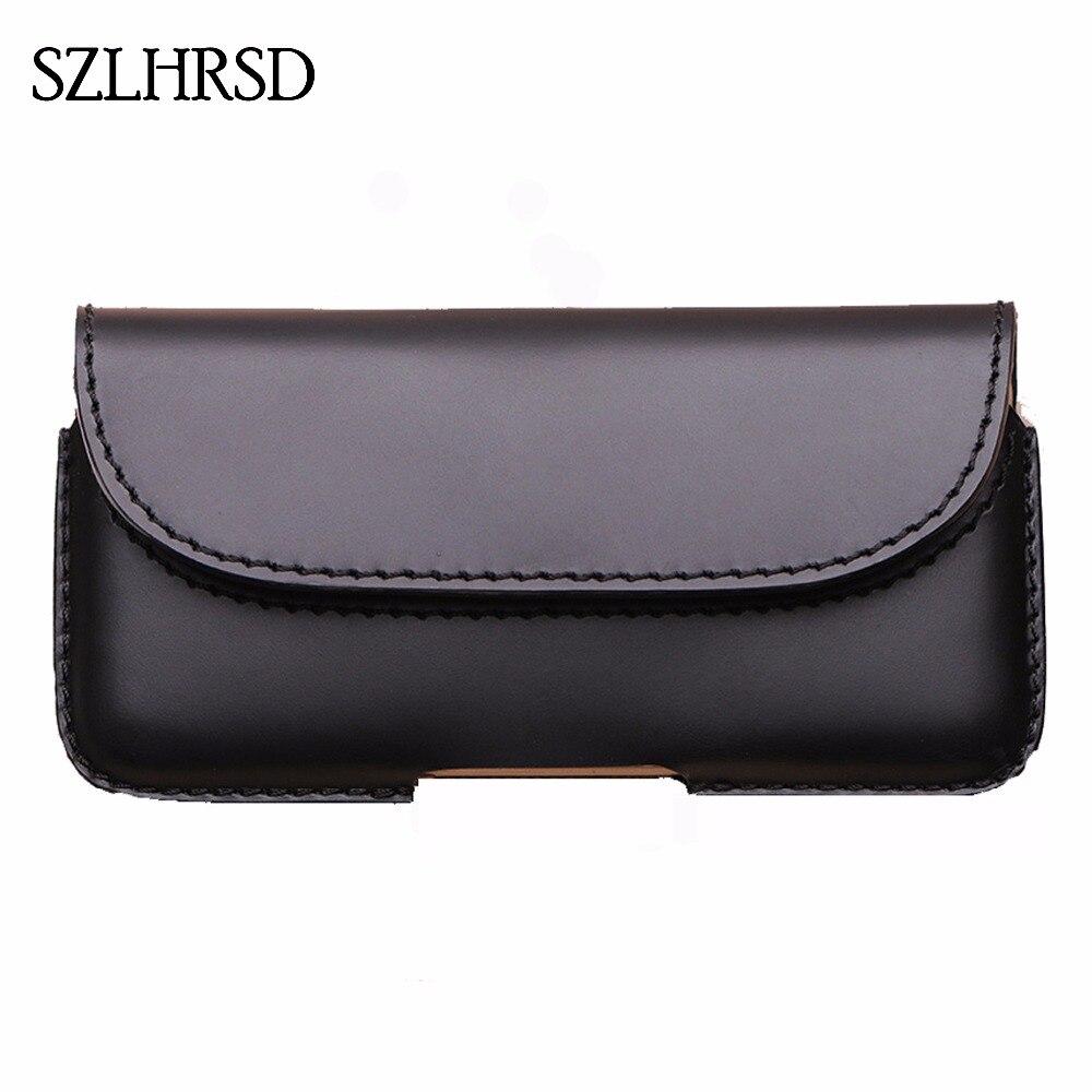 SZLHRSD hommes ceinture Clip en cuir véritable pochette taille sac téléphone couverture pour Doogee S60 Lite X55 X53 X60L etuis noir cellule accessoire