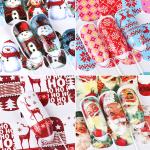 Image 2 - 12pcs Christmas Nail Stickers Water Decals Snowman Santa Clause Deer Nail Art New Year Slider Manicure Full Wraps Tool JIA/BN