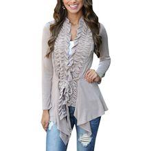 Fashion Women Coat Elegant Irregular Hem Milk Fiber Cardigan Long Jacket