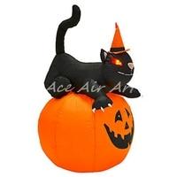 China suppliers Halloween inflatable Halloween cartoon decoration cat with pumpkin