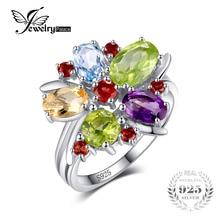 Jewelrypalace Цветок многоцветный 3.1ct Природный аметист гранат перидот цитрин голубой топаз коктейльное кольцо 925 серебряное кольцо