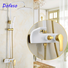 Dofaso luxury antique white gold shower Faucet Cold and hot Water Mixer black rain bath Shower set retro