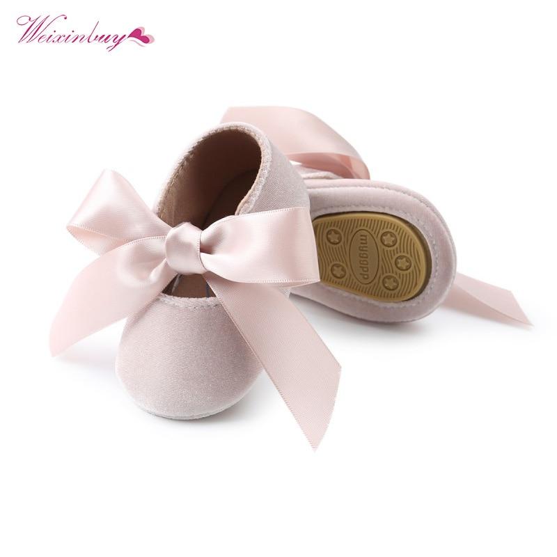WEIXINBUY תינוקת נעלי Riband Bow תחרה עד עור מפוצל נסיכת תינוק נעליים ראשון הליכונים יילוד מוקסינים עבור בנות