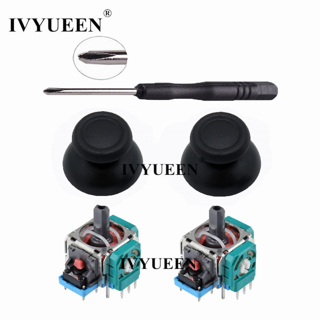 IVYUEEN 2 Sets for Dualshock 4 PS4 PRO Slim Controller 3D Analog Stick 3 Pin Sensor Module Potentiometer with ThumbSticks Caps 1