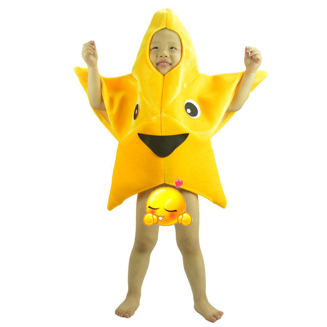 Children's Performance Clothes Yellow Star Cartoon Anime Cosplay Unisex Children Fancy Dress New Year Mascot Costume for Kids