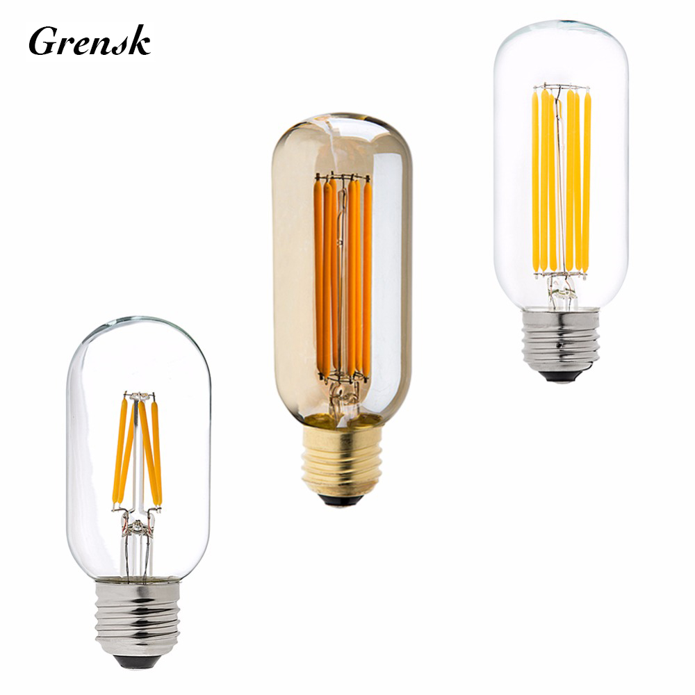 4W 6W,Edison LED Filament Bulb,T45 Tubular Lamp,110v 220v E26 E27 Base,Super Warm White 2200K,Dimmable