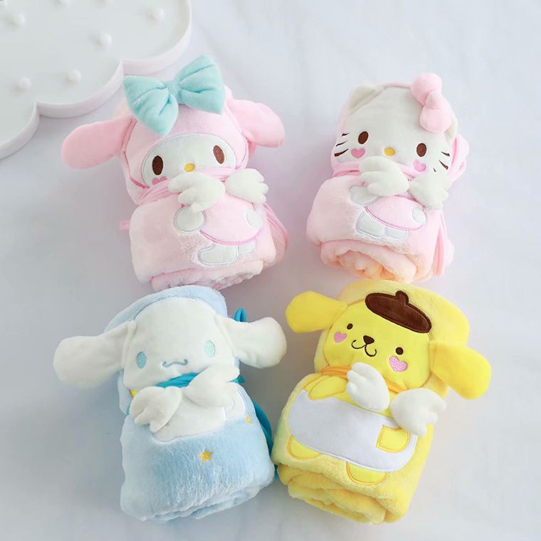Cartoon Melody Cinnamoroll Rolling Blanket Stuffed Cushion Plush Hand Warm Blanket Birthday Christmas Gift #1028