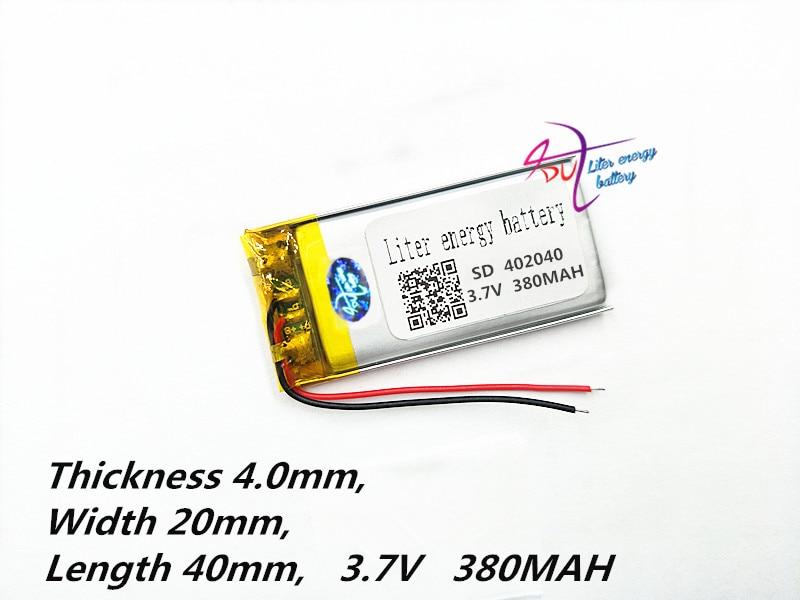 Polümeer-liitiumaku 402040 042040 3.7V 380mAh MP3 MP4 mänguasja - Tahvelarvutite tarvikud - Foto 2