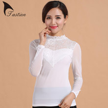 2016 Hot Sale Women Spring Autumn Tops Tees Strapless High Model Lace Fabric Comfortable Sexy Slim tshirts femininas Plus Size