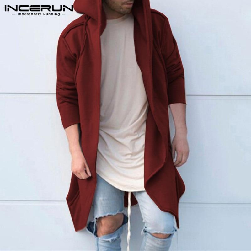 2018 Hiphop sudaderas con capucha sudaderas manto con capucha larga dobladillo Irregular Hombre sólido suelto con capucha otoño manga larga Chaqueta de punto