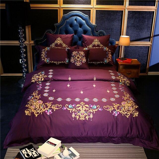 4/6/7Pcs High TC Pima Cotton Luxury Palace Bedding Set Golden Embroidery  Duvet