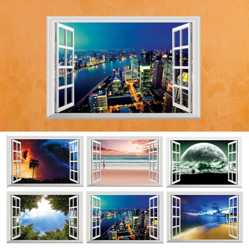 Beach Sea 3D Wall Sticker Moon Fake Window Scenery Wallpaper DIY Removable Sofa Background Vinyl Decal Home Decor Mural G30