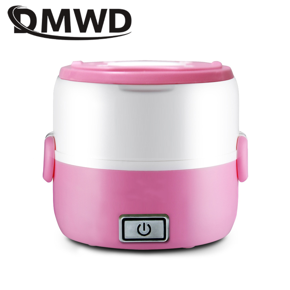 DMWD Electric rice cooker 1L Mini Portable Heating Lunchbox Food Cooking Container Meal Steamer Warmer 2 layers Dinner Lunch Box bear dfh s2516 electric box insulation heating lunch box cooking lunch boxes hot meal ceramic gall stainless steel