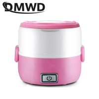 DMWD Electric rice cooker 1L Mini Portable Heating Lunchbox Food Cooking Container Meal Steamer Warmer 2 layers Dinner Lunch Box