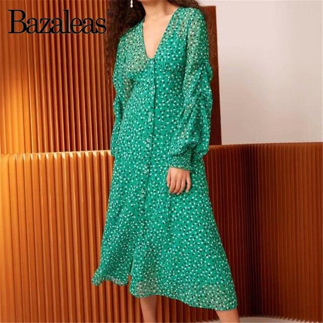 c064df025bea5 Goedkope verkoop Bazaleas Vintage Groene bloemenprint Knoppen Midi ...