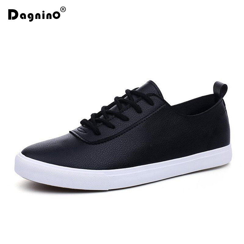 DAGNINO Spring Autumn Retro High Quality Comfortable Casual Shoes Men Breathable PU Leather White Black Lace Up Flats Loafers micro micro 2017 men casual shoes comfortable spring fashion breathable white shoes swallow pattern microfiber shoe yj a081