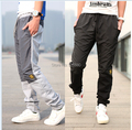 A nova moda Han edição bordado logotipo, Homens splicing moletom de lazer calças