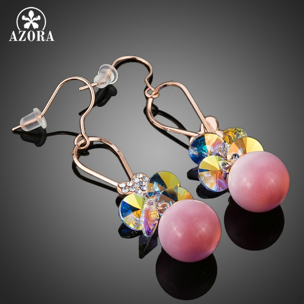 AZORA Gorgeous Gold Color Gradual Change Stellux Austrian Crystal and Pink Beads Drop Earrings TE0180