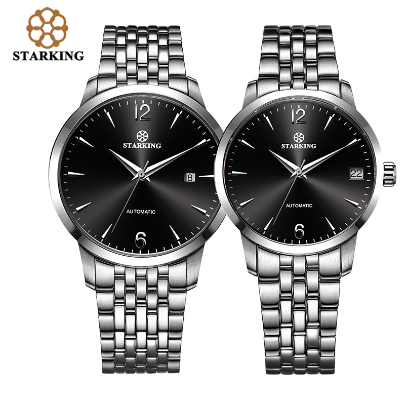 STARKING Fashion Branded 316l Stainless Steel Lover's Watch 5atm Waterproof Auto Date Male/Female Automatic WristWatch AM/L0194
