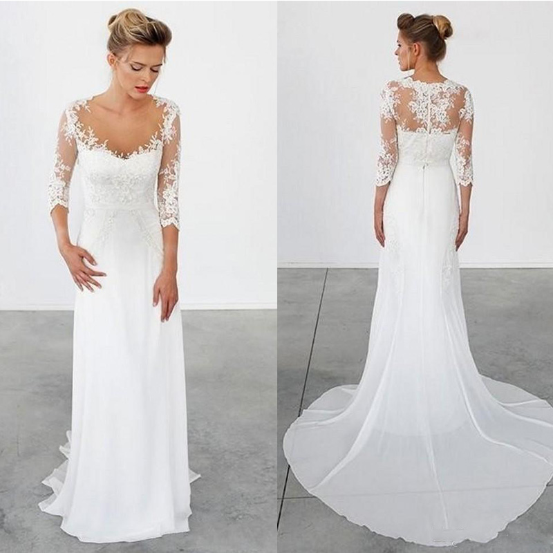 Vintage Style Lace Wedding Dresses: 2017 Simple Beach Wedding Dresses 3/4 Long Sleeves Vintage