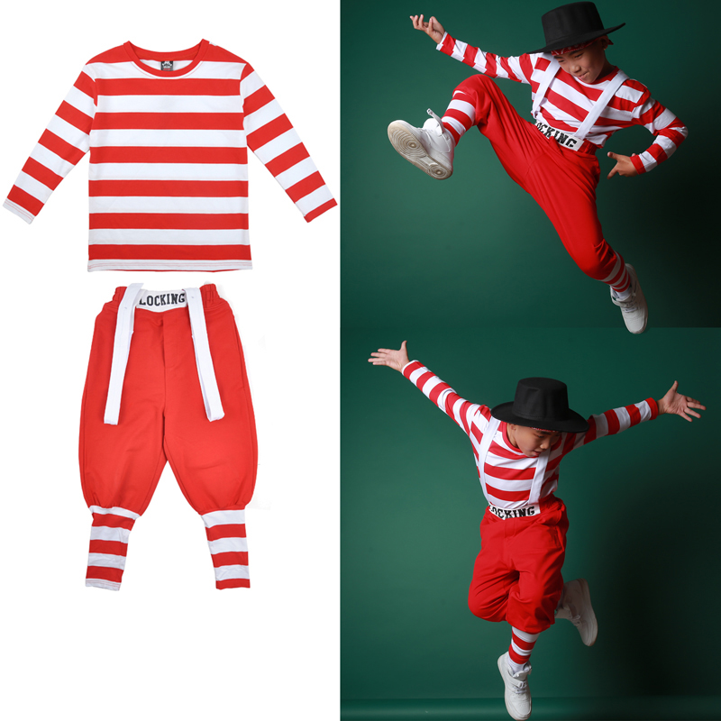 Hip Hop Dance Costume Girls Jazz Modern Costumes White Red Stripes Top Pants Locking Stage Outfit Street Dance Clothing DQS1554