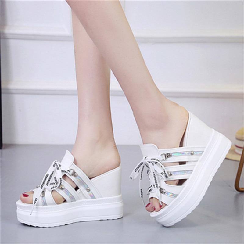 FeiYiTu Summer New style Arrived Sexy Platform Wedges Sandals Women Fashion High Heels Female SlippersWomen 12CM Flip Flops in Slippers from Shoes