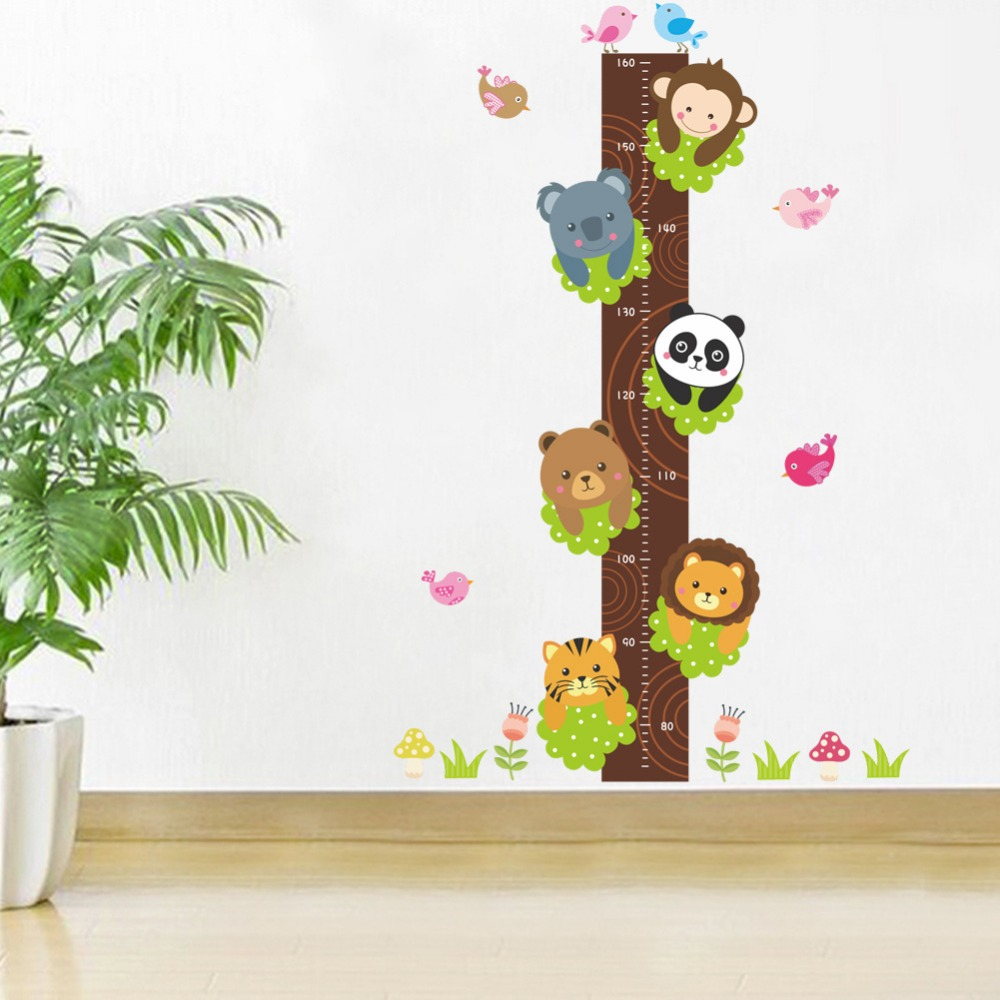Cartoon monkey panda height sticker bear wall stickers for kids room cartoon monkey panda height sticker bear wall stickers for kids room boy growth chart stadiometer kids wall mural height ruler in wall stickers from home geenschuldenfo Image collections