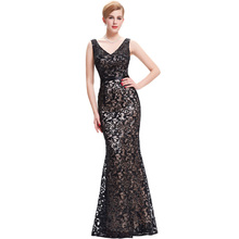 Kate Kasin Womens Summer Dress Double V Neck Black Mermaid Dress Wedding 2017 Luxury Sequin Women Formal Dress Robes Satin Gown