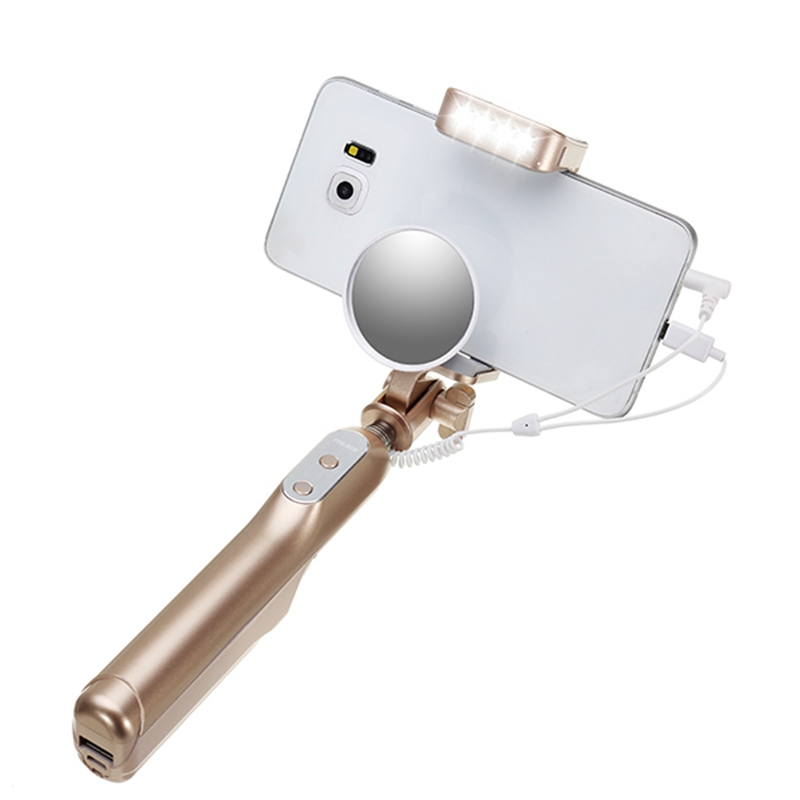 MX69W 3 in-1 Extendable Cable Selfie Stick Monopod with Mirror for iOS Android phone with Flasher Cable Power Bank